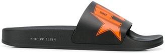 Philipp Plein Logo-Print Flat Slides