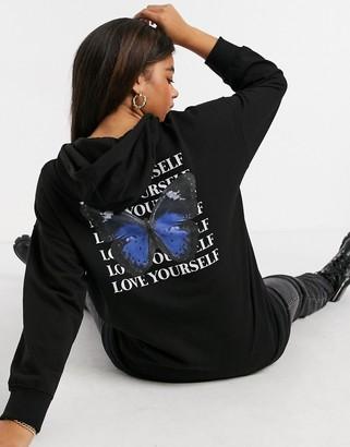 New Look butterfly print longline oversized hoodie in black