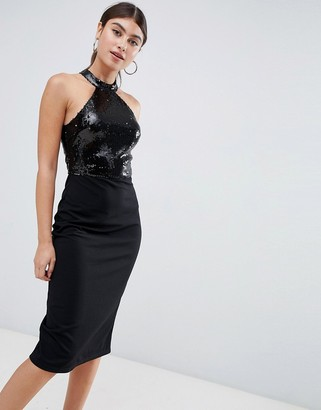 AX Paris racer neck mini dress with maxi overlay-Black