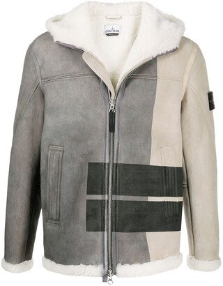 Stone Island Colour-Block Shearling Jacket