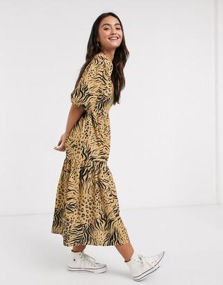 ASOS DESIGN midi smock dress with square neck in animal print