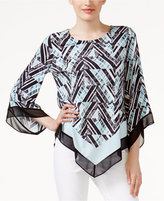 Alfani Petite Printed Point-Hem Top, Only at Macy's