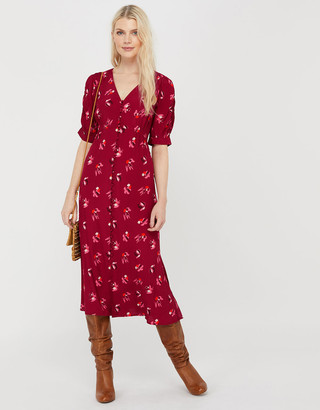 Under Armour Betty Floral Tea Dress in Sustainable Viscose Red