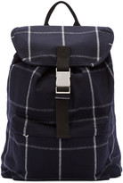 A.P.C. Navy Wool Plaid Snap-Buckle Backpack