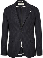 Oliver Spencer Navy Brookes Pinstriped Virgin Wool Blazer