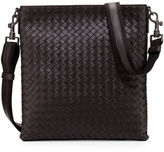 Bottega Veneta Men's Woven Zip-Top Messenger Bag, Nero Black