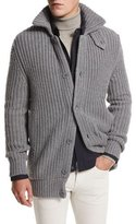 Loro Piana Sun Peaks Cashmere-Wool Long Cardigan, Iron Gray Melange