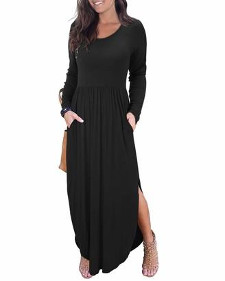 II ININ Women's Long Sleeve Casual Loose Split Maxi Dresses with Pockets