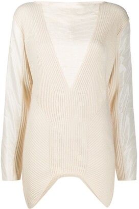 Gianfranco Ferré Pre Owned Ribbed Details Long-Sleeved Blouse