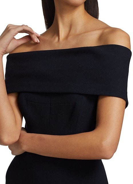 Thumbnail for your product : Lela Rose Off-The-Shoulder Crepe Gown