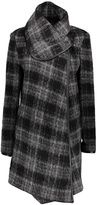 Betsey Johnson Black & Gray Plaid Wool-Blend Coat