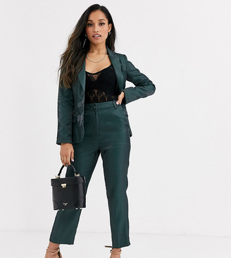 Fashion Union Petite tailored trouser coord with pleat detail in green satin