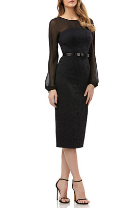 Kay Unger New York Long-Sleeve Belted Dress in Lace & Chiffon