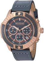 Versus By Versace Men's 'ADMIRALTY' Quartz Gold-Tone and Leather Casual Watch, Color: (Model: VSP380317)