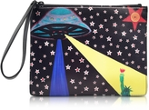Christopher Kane Night Print Leather Clutch