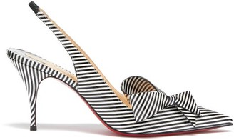 Christian Louboutin Clare Nodo 80 Striped Leather Slingback Pumps - Black Stripe