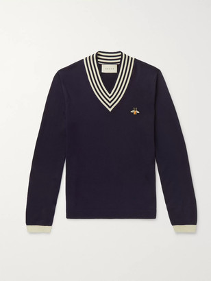 Gucci Appliqued Striped Wool Sweater