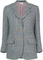 Thom Browne Wide Lapel Single Breasted Sport Coat In Herringbone Harris Tweed