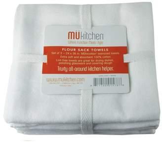 Mukitchen, 3 Pack, White Flour Sack Kitchen Towel