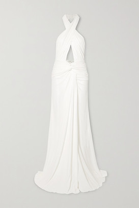 Dundas Ruched Cutout Jersey Halterneck Gown - White