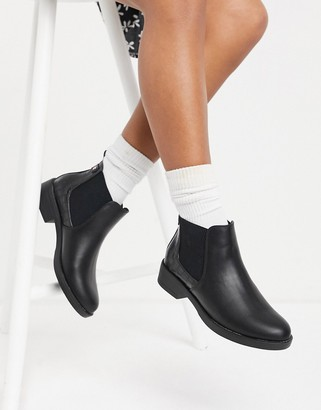 New Look faux croc detail chelsea boot in black