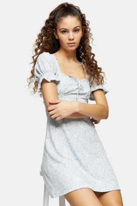 Topshop Blue Puff Sleeve Printed Mini Flippy Dress