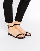 London Rebel Ankle Strap Flat Sandals