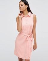 AX Paris Sleeveless Shirt Dress With Belted Waist