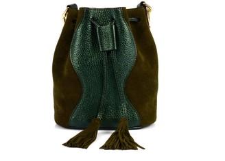Atelier Hiva Mini Rivus Leather Bag Metallic Green & Khaki Suede