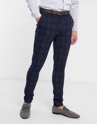ASOS DESIGN super skinny suit trousers in birdseye check in navy
