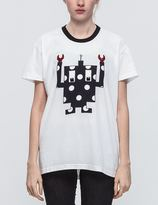 Mother of Pearl White/Navy Spot Robot Unisex T-shirt