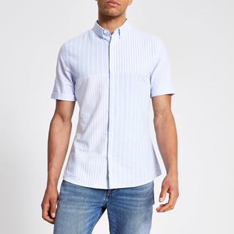 River Island Mens Blue stripe blocked slim fit shirt