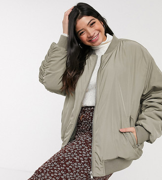 ASOS DESIGN Curve oversized twill bomber jacket in Khaki