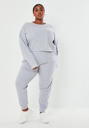 Missguided Plus Size Gray Msgd Tag Detail Sweatshirt