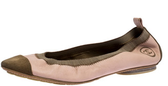 Chanel Pink Leather And Beige Suede Scrunch CC Cap Toe Ballet Flats Size 40