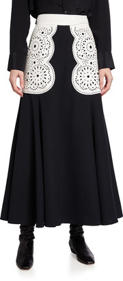 Gabriela Hearst Ihlen Cutout Leather Belted Midi Skirt