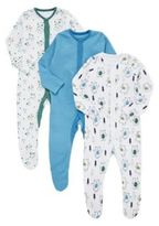 F&F 3 Pack of Dancing Bear and Striped Sleepsuits, Newborn Boy's