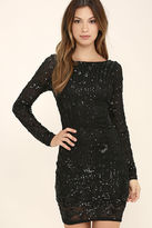 LuLu*s Shine of the Season Black Sequin Dress