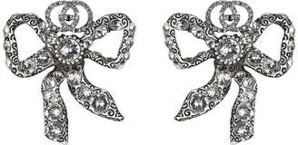 Gucci Metal bow earrings with crystals