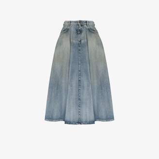 Miu Miu Womens Blue Flared Denim Midi Skirt