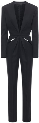 Haider Ackermann Slim Leg Wool Jumpsuit W/ Cut Out