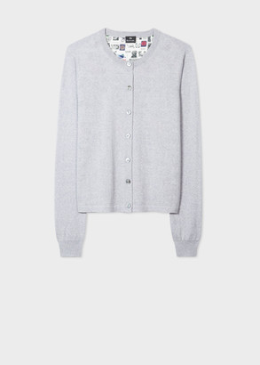 Paul Smith Women's Grey 'Up' Back Panel Wool And Silk Cardigan