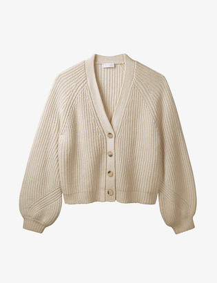 The White Company Balloon-sleeved wool-blend cardigan