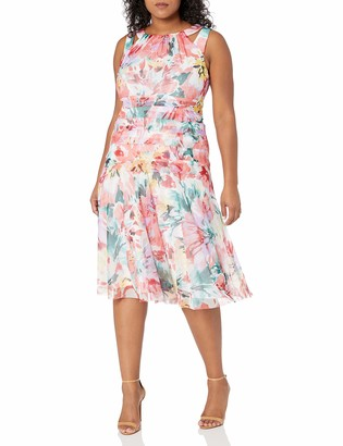London Times Women's Plus Size Sleeveless Midi Fit & Flare Dress w. Drop Waist