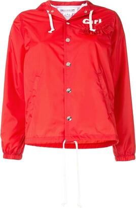 COMME DES GARÇONS GIRL Ruffle-Trim Logo Hooded Jacket