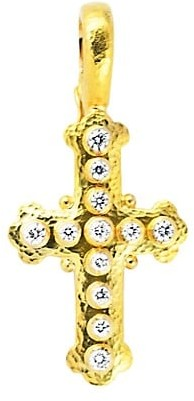 Elizabeth Locke Stone Hammered 19K Yellow Gold & Diamond Small Byzantine Cross Pendant
