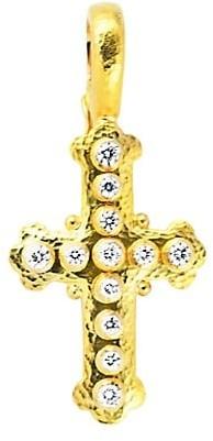 Elizabeth Locke Stone Hammered 19K Yellow Gold & Diamond Small Byzantine Cross Pendant