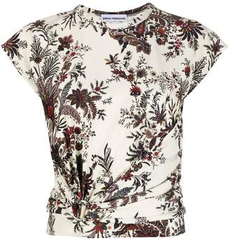 Paco Rabanne knot detail floral print T-shirt