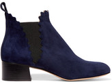 Chloé Suede Scalloped Ankle Boots - Midnight blue