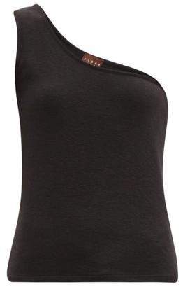 ALBUS LUMEN One-shoulder Cotton-blend Terry Top - Black